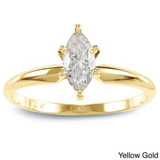 Auriya 14k Gold 1/2ct TDW Marquise Diamond Solitaire Engagement Ring (I-J, I1)