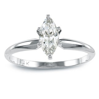 Auriya 14k Gold 1/2ct TDW Marquise Diamond Solitaire Engagement Ring (More options available)