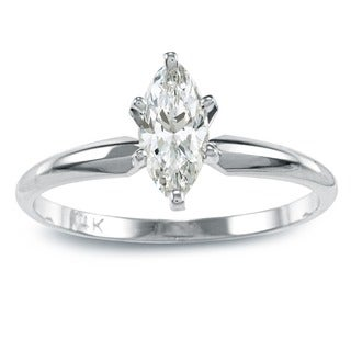 Auriya 14k Gold 1/2ct TDW Marquise Diamond Solitaire Engagement Ring