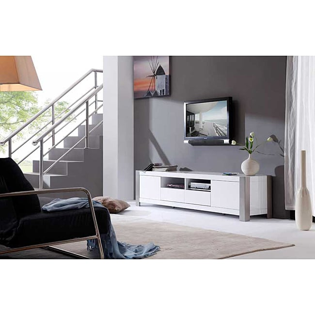 Shop Maya White High Gloss Stainless Steel Tv Stand On Sale