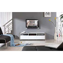 'Adrianna' White High-gloss Stainless Steel TV Stand - Thumbnail 1