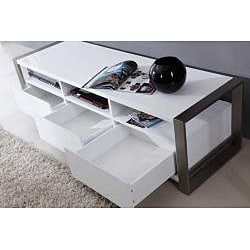 'Adrianna' White High-gloss Stainless Steel TV Stand - Thumbnail 2