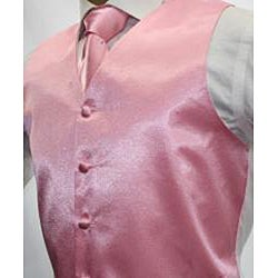 Ferrecci Men's Shiny Pink Microfiber 3-piece Vest - Thumbnail 1