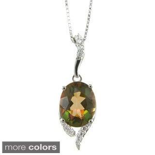 Pearlz Ocean Topaz and Cubic Zirconia Pendant Necklace