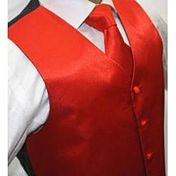 Ferrecci Men's Shiny Red Microfiber 3-piece Vest