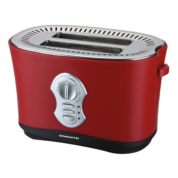 Ovente 2-slice Matte Red Toaster