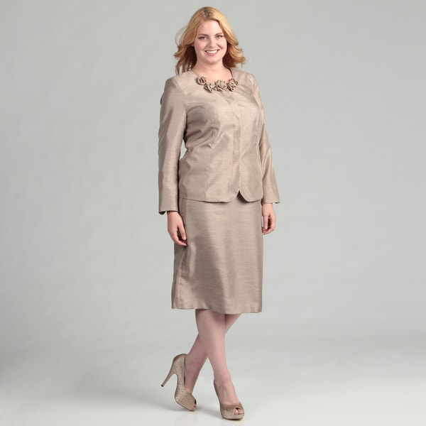 Danillo Women's Plus Size Champagne Skirt Suit