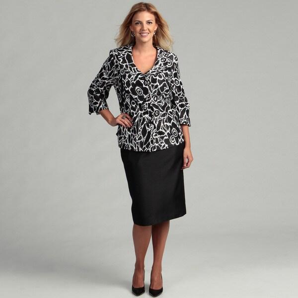 Danillo Women's Plus-size Floral Jacket Skirt Suit