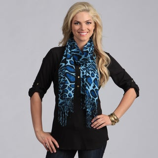 Women's Baby Blue Giraffe Print Shawl Wrap