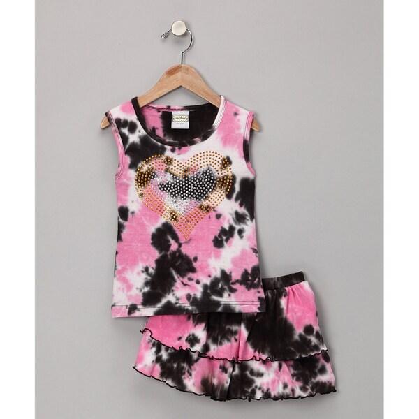 AnnLoren Girl's Boutique Pink/Black Tie-dye Crystal Tank Skort Set