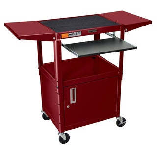 H. Wilson Drop-Leaf Adjustable Swivel Steel Utility Cart with Keyboard Shelf and Cabinet