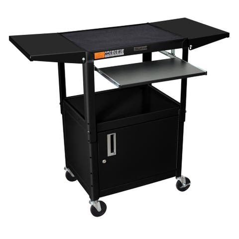 Drop Leaf Adjustable Utility Cart with Keyboard Shelf and Cabinet
