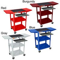 H. Wilson 300-Pound-Capacity Drop-Leaf Adjustable Steel Utility Cart with Keyboard Shelf