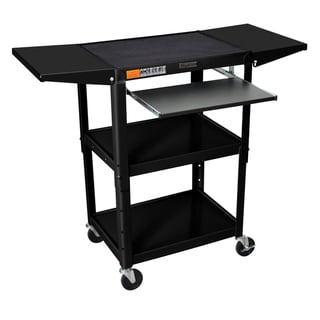 H. Wilson Drop Leaf Adjustable Steel Utility Cart with Keyboard Shelf