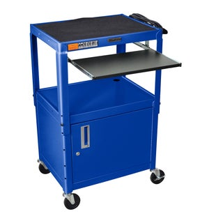 H. Wilson Adjustable Steel Utility Cart with Pull-Out Keyboard Shelf and Cabinet (Option: Blue)