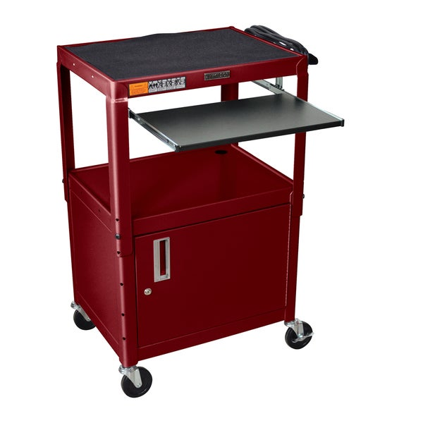 H. Wilson Adjustable Steel Utility Cart with Pull-Out Keyboard Shelf and Cabinet
