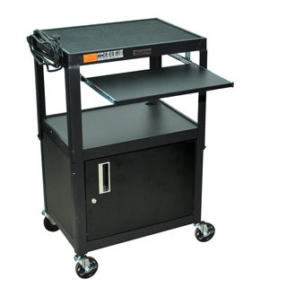H. Wilson Adjustable Steel Utility Cart with Keyboard Shelf And Cabinet