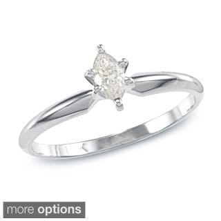 Auriya 10k Gold 1/4ct TDW Marquise Diamond Solitaire Ring