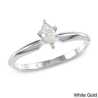 Auriya 10k Gold 1/4ct TDW Marquise Diamond Solitaire Ring