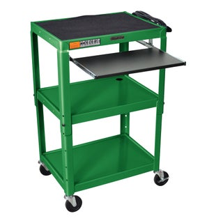 H. Wilson Adjustable Steel Utility Cart With Keyboard Shelf (Option: Green)