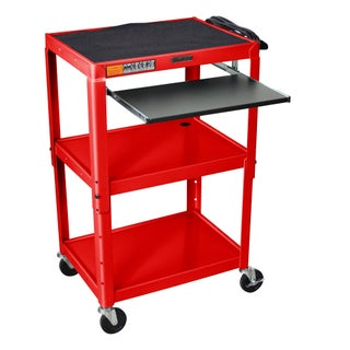 H. Wilson Adjustable Steel Utility Cart With Keyboard Shelf (Option: Red)