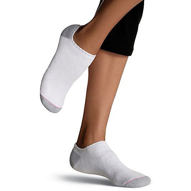Hanes Women's White Cushion Extra Low-cut Socks (Pack of 6)