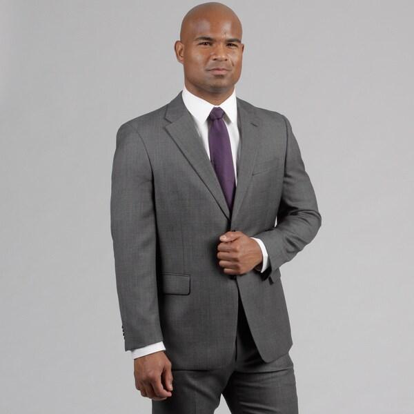 Tommy Hilfiger Men's Dark Grey Birdseye Wool Suit