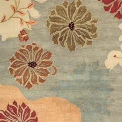 Safavieh Handmade Chatham Garden Blue New Zealand Wool Rug (6' x 9')