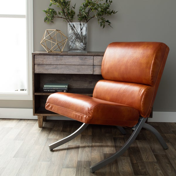 Rialto Rust Faux Leather Chair Free Shipping Today