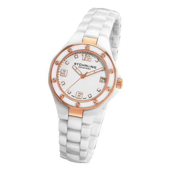 Stuhrling Original Lady Apocalypse Noir Swiss Made White Ceramic Watch