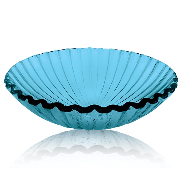 Decolav Clam Shell Blue Glass Vessel Sink