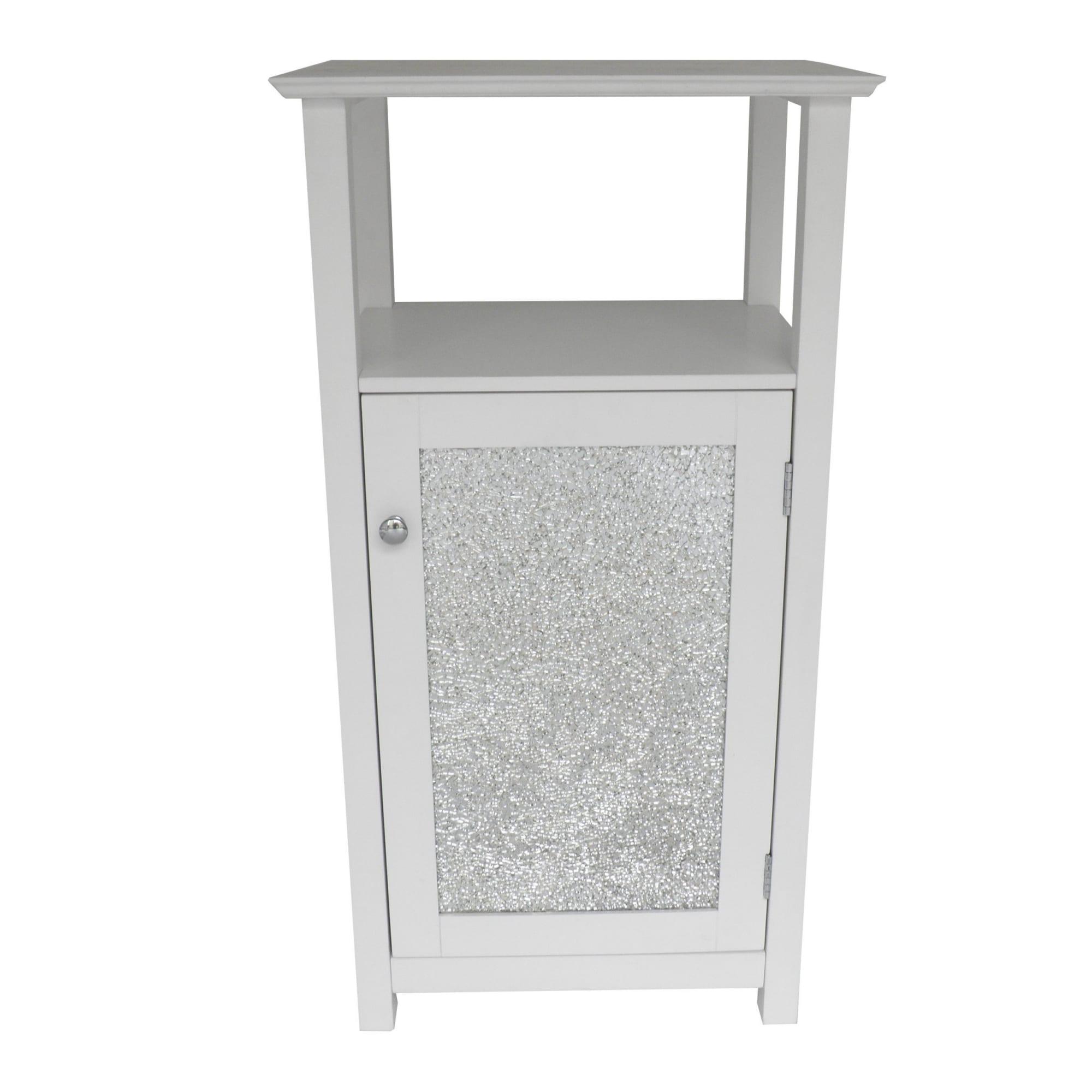 Fifth Avenue Silver Mosaic Open Shelf Floor Cabinet