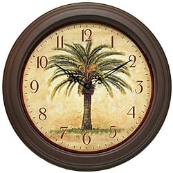 Cabana 12-inch Brown Palm Tree Resin Wall Clock|https://ak1.ostkcdn.com/images/products/6527355/Cabana-12-inch-Brown-Palm-Tree-Resin-Wall-Clock-P14112024.jpg?impolicy=medium