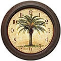 Cabana 12-inch Brown Palm Tree Resin Wall Clock