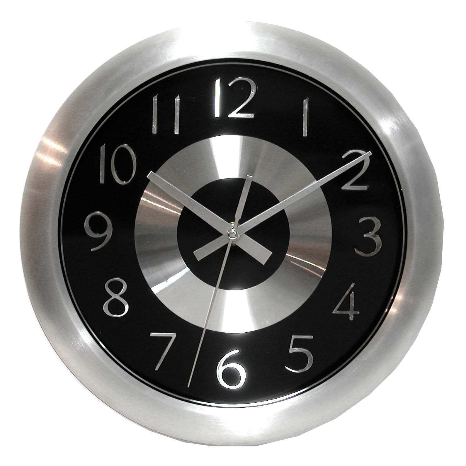 Am americana country wall clocks - Mercury Black 10 Inch Black Polished Aluminum Wall Clock
