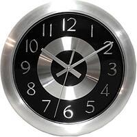 Carbon Loft Sherman 10-inch Black/ Polished Aluminum Wall Clock