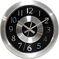 Mercury Black 10-inch Black/ Polished Aluminum Wall Clock