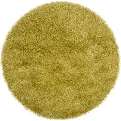 Hand-woven Green Kinich Soft Shag (6' Round)