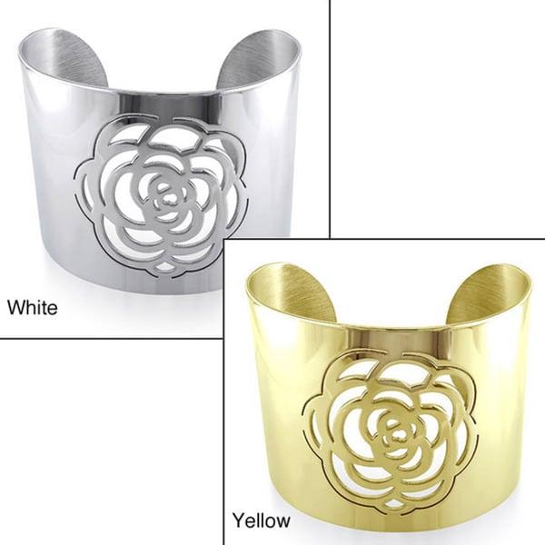 Miadora Stainless Steel Rose Design Cuff Bracelet