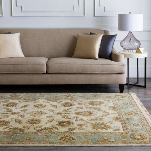 Hand-knotted Green Hobnil Wool Area Rug - 2' x 3'