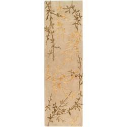 Hand-tufted Beige Pekku Wool Area Rug (2'6 x 8') - Thumbnail 0