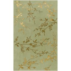 Hand-tufted Kak Light Green Floral Wool Blend Rug (3'6 x 5'6)
