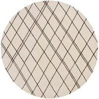 Hand-tufted Contemporary Beige Panes New Zealand Wool Abstract Area Rug (8' Round) - 8' x 8'