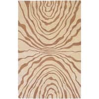 Hand-tufted Contemporary Beige Ourea New Zealand Wool Abstract Area Rug - 3'3 x 5'3