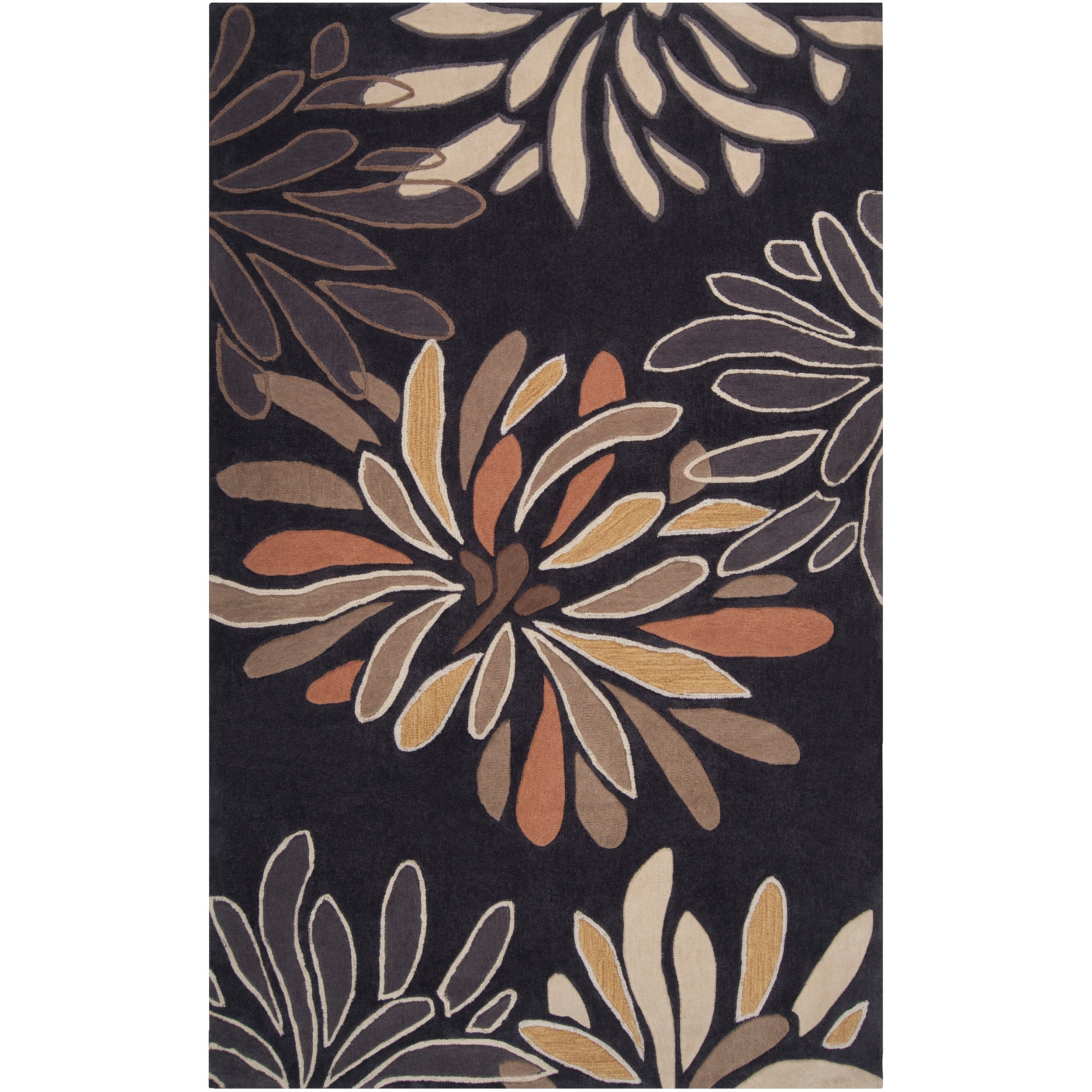 Hand Tufted Contemporary Black Nesoi Floral Rug 8 X 10