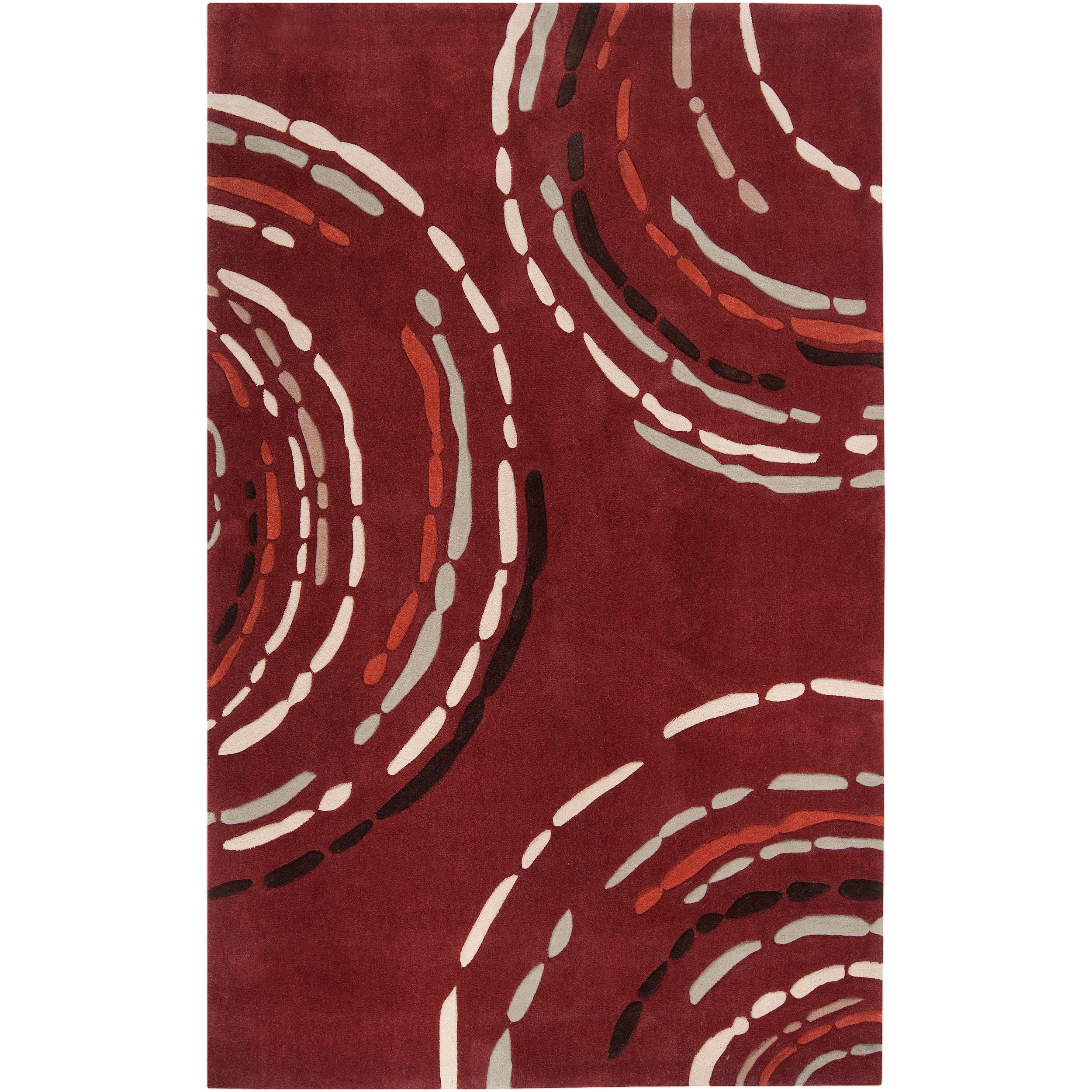 Shop Hand Tufted Contemporary Red Sprint Geometric Circles