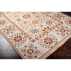 Hand-knotted Ivory Paisley Floral Hemera New Zealand Wool Rug (6' x 9') - Thumbnail 1