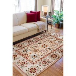 Hand-knotted Ivory Paisley Floral Hemera New Zealand Wool Rug (6' x 9') - Thumbnail 2