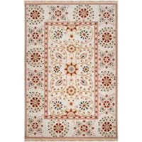 Hand-knotted Ivory Paisley Floral Hemera New Zealand Wool Area Rug - 6' x 9'