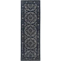 Hand-tufted Blue Ananke Oriental Pattern Wool Area Rug (2'6 x 8') - 2'6 x 8'